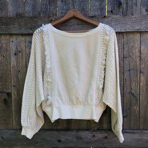 NWOT Free People Cream Crochet w/ Fringe Top